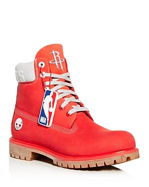 Timberland Boots X NBA MEN'S ROCKETS LOGO WATERPROOF NUBUCK LEATHER BOOTS