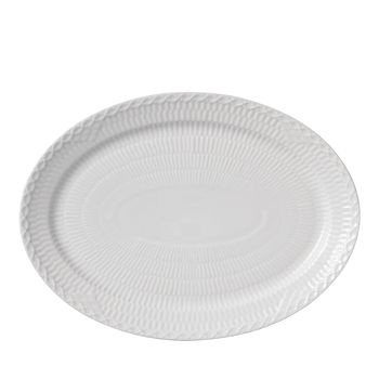 """Royal Copenhagen - White Fluted Half Lace 11"""" Oval Plate"""