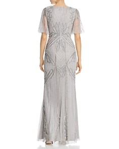 Adrianna Papell -  Beaded Flutter-Sleeve Gown