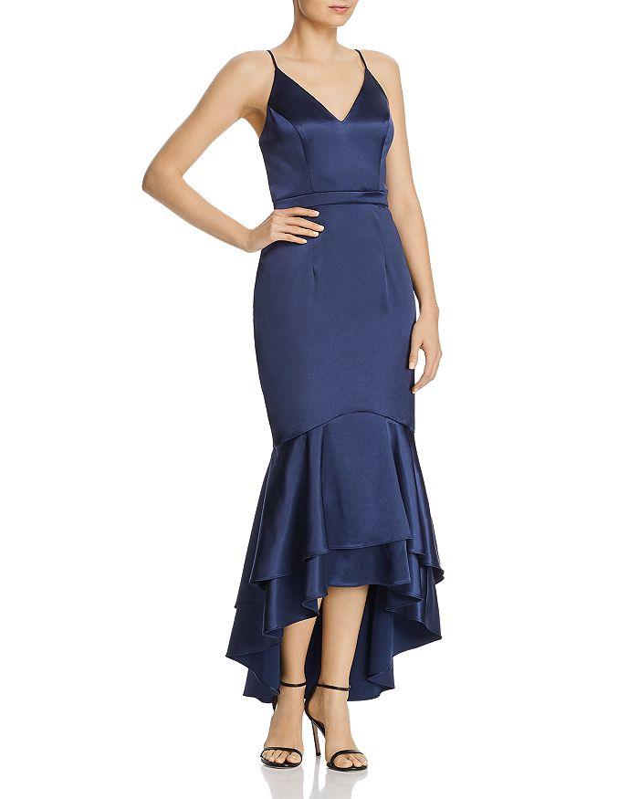 Avery G - Satin Flounce Dress