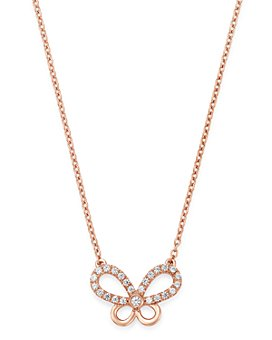 Bloomingdale's - Diamond Butterfly Pendant Necklace in 14K Rose Gold, 0.25 ct. t.w. - 100% Exclusive