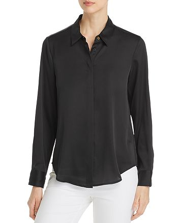 Donna Karan - Satin Concealed Button-Front Top