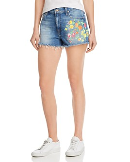 7 For All Mankind - Cut-Off Floral-Embroidered Denim Shorts in Vintage Parker