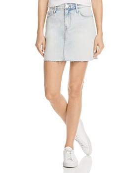 Current/Elliott - The 5-Pocket Raw-Edge Denim Mini Skirt