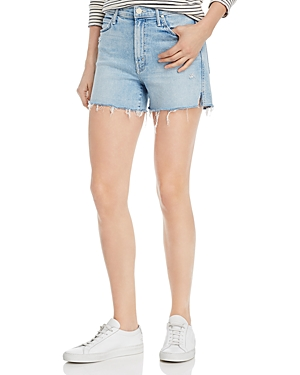 Mother Shorts RASCAL HIGH-RISE SLIT FRAYED DENIM SHORTS IN DRINKING BY THE POOL