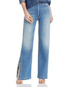 MOTHER -  The Hustler Sidewinder Slit Wide-Leg Jeans in A Side Of Rice And Beans