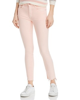MOTHER - The Looker Frayed Step-Hem Skinny Jeans in So Far Gone Pink Lemonade