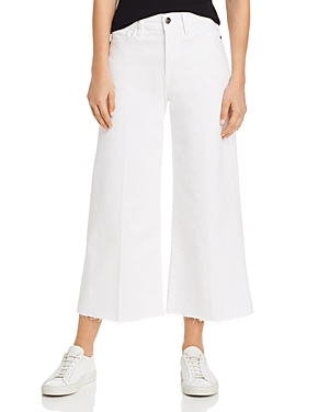 Frame Jeans LE VINTAGE RAW-EDGE CROPPED WIDE-LEG JEANS IN BLANC