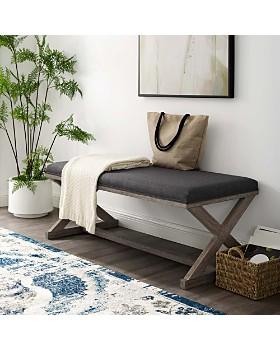 Modway - Province Vintage French X-Brace Upholstered Fabric Bench