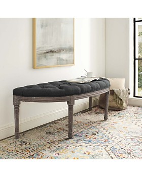 Modway - Esteem Vintage French Upholstered Fabric Semi-Circle Bench