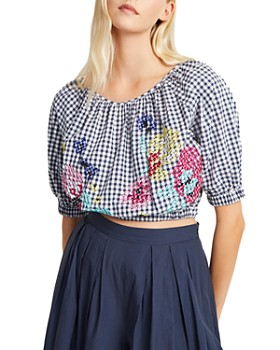 FRENCH CONNECTION - Lavande Gingham & Floral Cropped Top