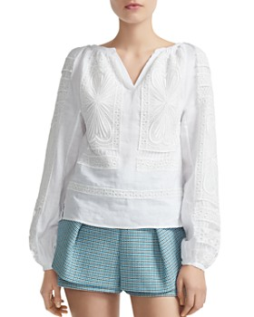 Maje - Lippy Guipure Lace-Inset Top
