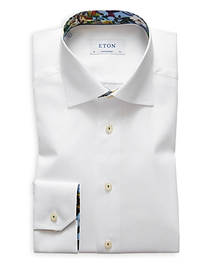 Eton Contemporary Fit Signature Twill Floral Contrast Dress Shirt