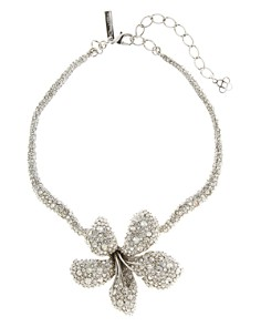 Oscar de la Renta - Pavé Flower Necklace, 12""