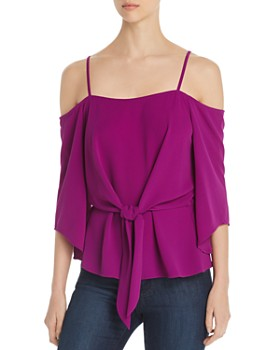 VINCE CAMUTO - Tie-Front Cold-Shoulder Top - 100% Exclusive