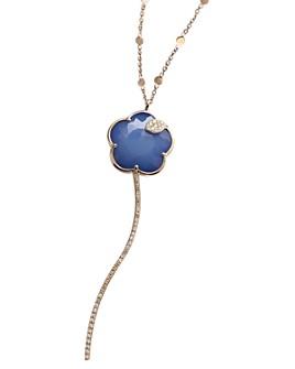"Pasquale Bruni - 18K Rose Gold Joli Gemstone Flower Pendant Necklace with Champagne & White Diamonds, 35"""