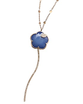 Pasquale Bruni - 18K Rose Gold Joli Gemstone Flower Pendant Necklace with Champagne & White Diamonds, 35""