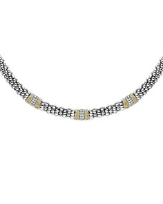 LAGOS - Sterling Silver & 18K Yellow Gold Diamond Lux Collar Necklace, 18""
