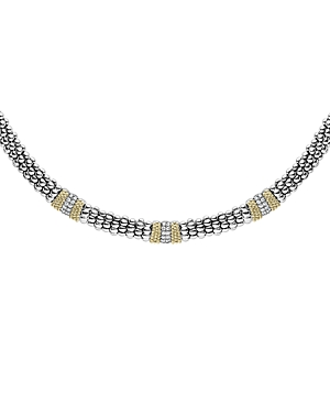 Lagos Sterling Silver & 18K Yellow Gold Diamond Lux Collar Necklace, 18-Jewelry & Accessories