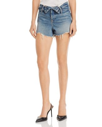 Bite Flip Frayed Denim Shorts In Vintage Mid Indigo by Alexanderwang.T