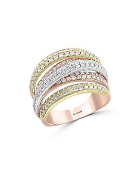Bloomingdale's - Pavé Diamond Crossover Band in 14K White, Yellow & Rose Gold, 1.40 ct. t.w. - 100% Exclusive