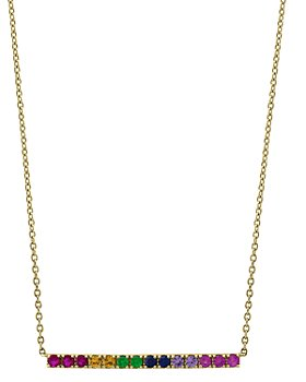 """Bloomingdale's - Rainbow Sapphire Bar Necklace in 14K Yellow Gold, 18"""" - 100% Exclusive"""