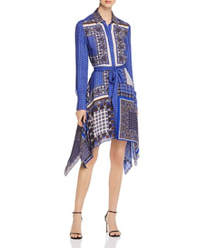 Elie Tahari - Roxanne Printed Handkerchief-Hem Shirt Dress