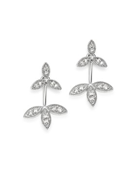 Adina Reyter - Sterling Silver Diamond Double Flower Drop Earrings