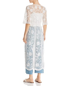 AQUA - Embroidered-Mesh Duster - 100% Exclusive