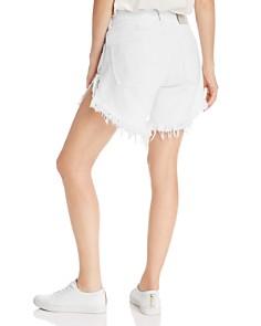 One Teaspoon - Frankies High-Rise Frayed Denim Shorts in White Beauty