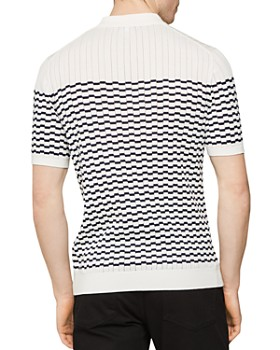 REISS - McAndrew Broken-Stripe Slim Fit Half-Zip Polo Shirt