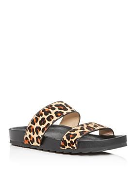 J/Slides - Women's Leopard-Print Calf Hair Slide Sandals