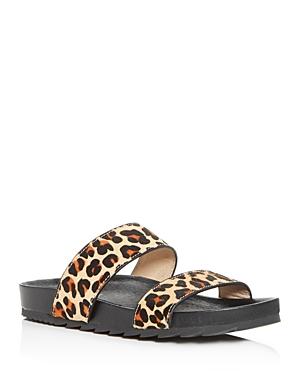 J/Slides Women's Leopard-Print Calf Hair Slide Sandals