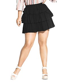 City Chic Plus - Salsa With Me Tiered Ruffle Skort