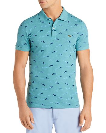 Lacoste - Airplane-Printed Slim Fit Piqué Polo Shirt