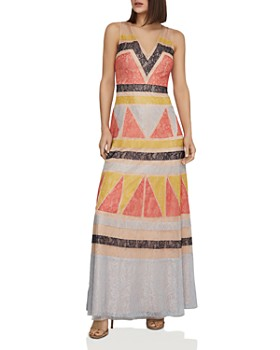 BCBGMAXAZRIA - Color-Block Lace-Appliqué Maxi Dress
