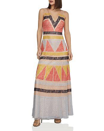 BCBGMAXAZRIA - Color-Block Lace-Appliqué Maxi Dress