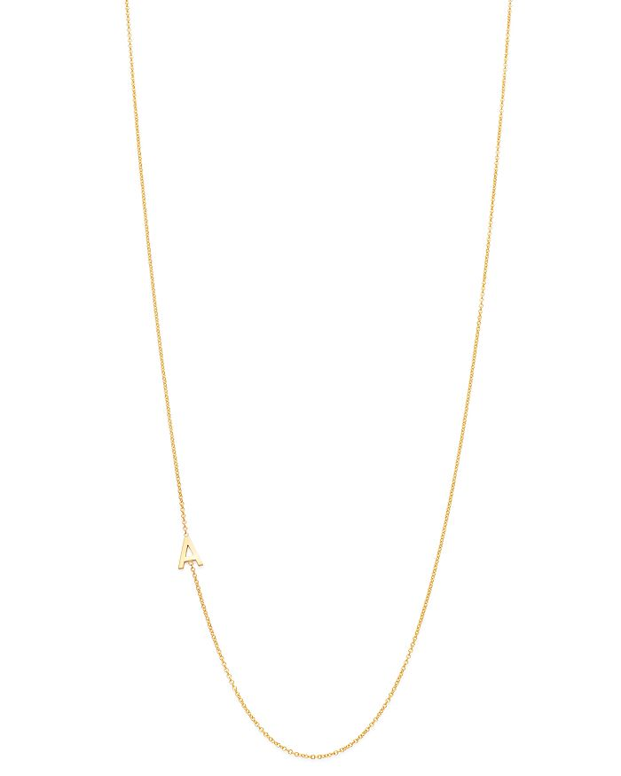 "Zoe Lev - 14K Yellow Gold Asymmetrical Initial Pendant Necklace, 18""L"