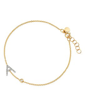 Zoe Lev - 14K Yellow Gold Diamond Initial & Bezel Bracelet