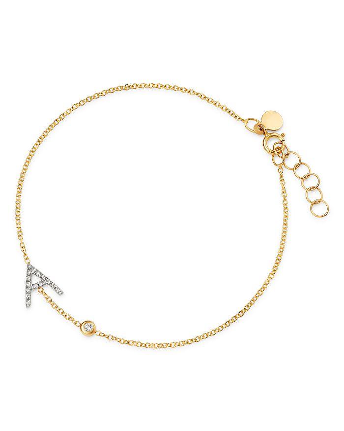 Zoe Lev - 14K Yellow Gold Diamond Initial & Bezel Bracelet