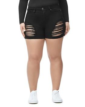 Good American - The Cutoff Denim Shorts in Black005