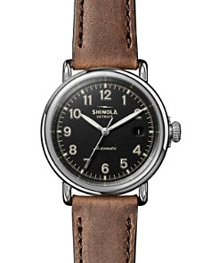 Shinola - The Runwell Brown Leather Strap Automatic Watch, 41mm