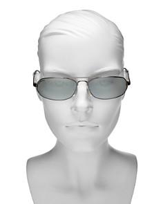 Balenciaga - Women's Mirrored Brow Bar Rectangular Sunglasses, 61mm