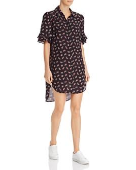 FRAME - Ruffle-Sleeve Silk Shirt Dress