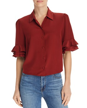 3242aee0c6dd39 FRAME - Ruffle-Sleeve Silk Blouse ...
