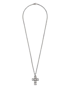 Gucci - Sterling Silver G Cube Cross Pendant Necklace, 23.5""
