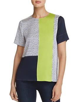 Donna Karan - Dotted Color-Block Top
