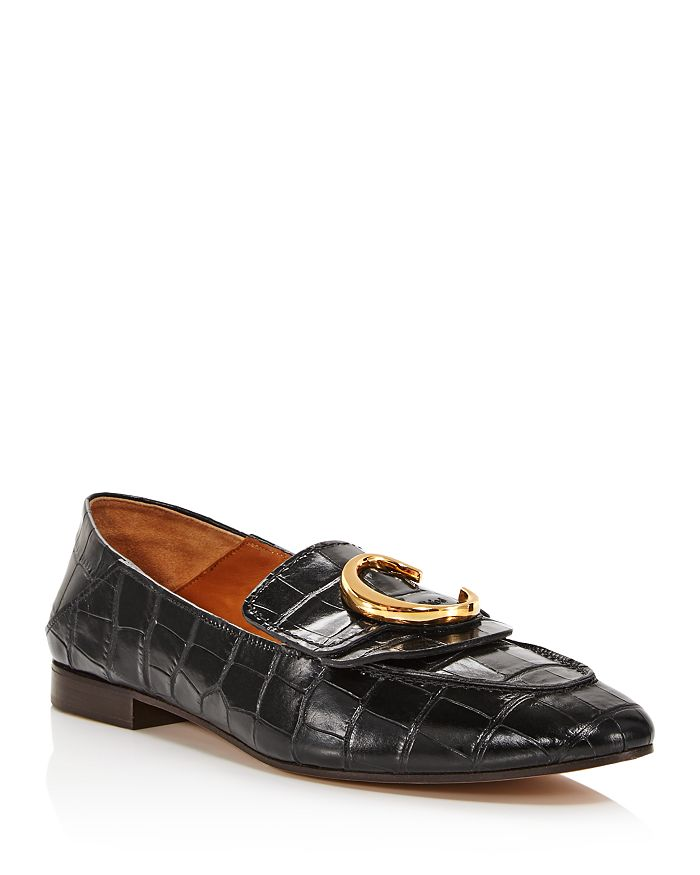 ChloÉ Women's C Flat Leather Loafers In Black