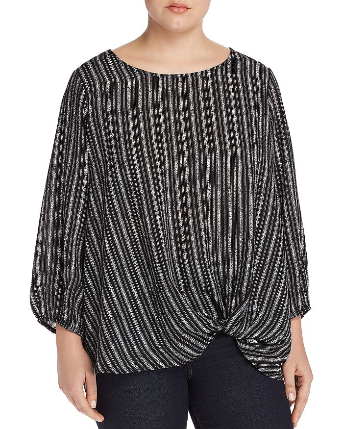 Status by Chenault Plus - Textured-Stripe Knot Top