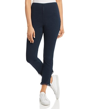 Lyssé - Cropped Frayed-Hem Legging Jeans in Indigo